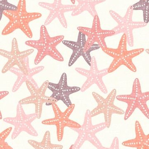 Starfish - pink and mauve - summer beach nautical - LAD19