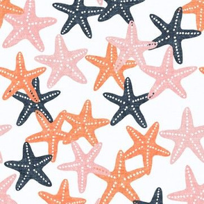 Starfish - coral and blue - summer beach nautical - LAD19