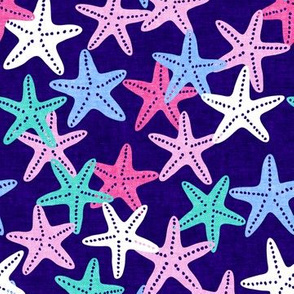 Starfish - dark blue - summer beach nautical - LAD19