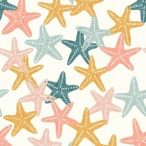 Starfish - butterscotch - summer beach nautical - LAD19