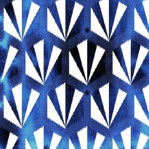 shibori hex tile - indigo