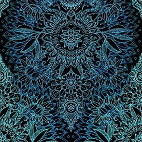 Midnight Teal and Aqua Protea Doodle - small