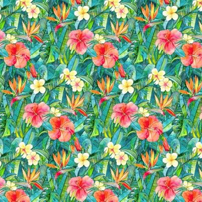 Classic Tropical Garden in watercolors 2  extra small print
