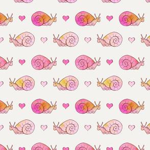Pink Watercolor Snails