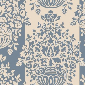 Floral Damask Cream and Slate