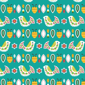 Bright folk pattern with birds