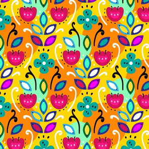 Bright folk pattern with flowers