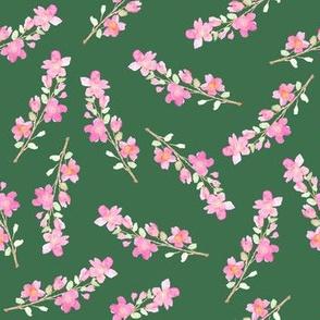 Hunter green floral blossom