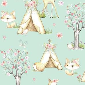 Whisperwood Nursery (seafoam) – Teepee Deer Fox Bunny Trees Flowers- MEDIUM scale