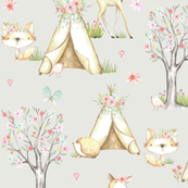 WhisperWood Nursery (eggshell) – Teepee Deer Fox Bunny Trees Flowers - MEDIUM  scale