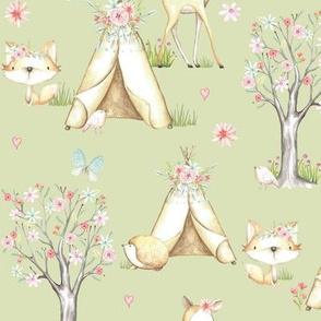 WhisperWood Nursery (fern) – Teepee Deer Fox Bunny Trees Flowers - MEDIUM  scale