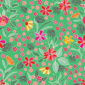 Spring floral on bright  green background