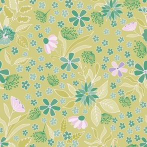 Spring floral on light green background