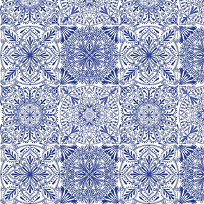 Blue and white ornamental tiles