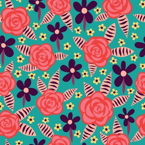 Red roses on turquoise background