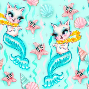 Large- Tropical Mermaid Cats with Leis and Starfish