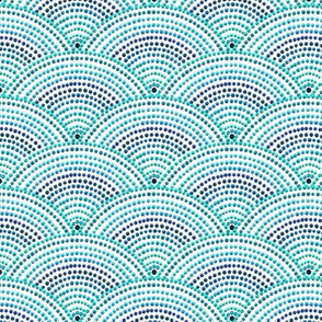 scallop dot on white, teal blue