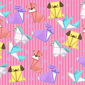 Origami Animals on Bright Pink Stripes