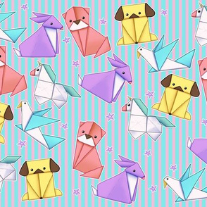 Kawaii Origami Animals on Pink and Pink