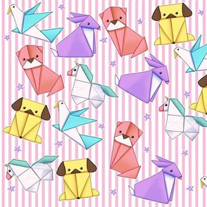 Origami Animals on Pink Pinstripe