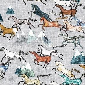 Wild Bush Horses (silver) SML