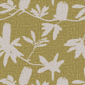 Natural banksia on chartreuse coloured linen