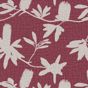 Natural banksia on raspberry coloured linen