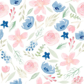 Blush Pink And Dusty Blue Floral Watercolor