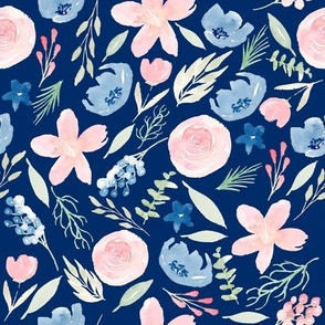 Blush Pink and Blue Navy Watercolor Florals