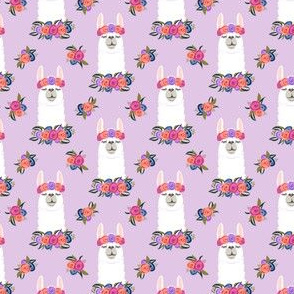 (extra small scale) floral llama - spring colors on purple C19BS