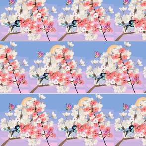 Blue Wren in Japanese Spring Garden