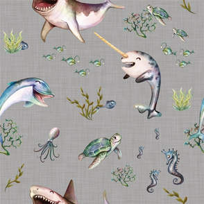 cute linen sea animals