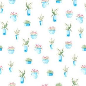 Blue Pot Plants in Watercolor