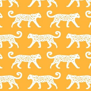 White Leopards on Yellow