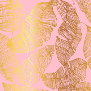 Gold leaves on Powder Pink