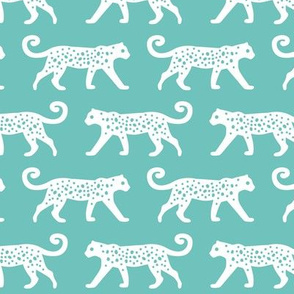 White Leopards on Teal