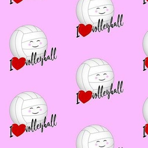 Kawaii I love volleyball typography pink
