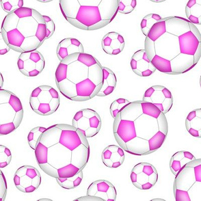 Girly pink and white soccer balls on white - small