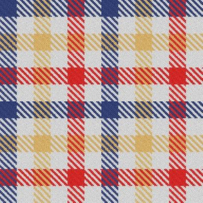 Red Yellow and Blue Tricolor Gingham Plaid