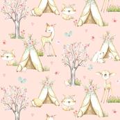 WhisperWood Nursery (baby pink) – Teepee Deer Fox Bunny Trees Flowers - SMALLER scale