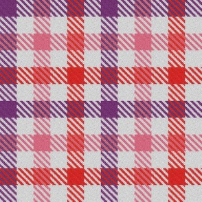 Purple Pink and Red Tricolor Gingham Plaid
