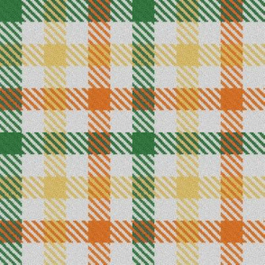 Green Yellow and Orange Tricolor Gingham Plaid