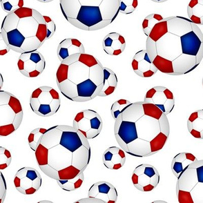 Red white and blue soccer balls pattern on white - small
