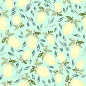 Lemons and Mint Watercolor Greenery