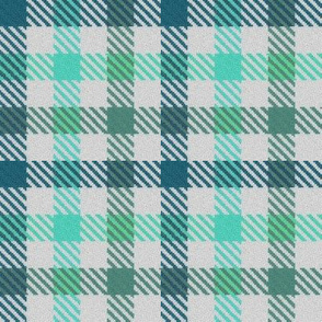 Teal Turquoise and Moss Green Tricolor Gingham Plaid