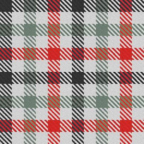 Black Charcoal Gray Grey and Red Tricolor Gingham Plaid
