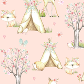 WhisperWood Nursery (baby pink) – Teepee Deer Fox Bunny Trees Flowers - MEDIUM  scale