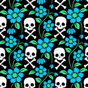 Skull and Crossbone Floral Vine