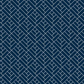 Simple Herringbone // white on navy