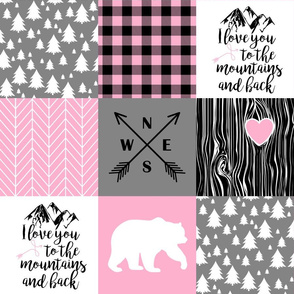 Love you to the mountains & back//Pink&DkGrey - Wholecloth Cheater Quilt